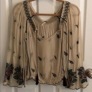 Free People Off The Shoulder Embroider Blouse